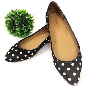 Talbots calf hair black & white polka dot shoes